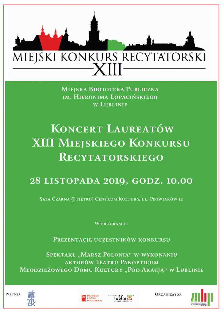 Koncert Laureatów XIII Miejskiego Konkursu Recytatorskiego