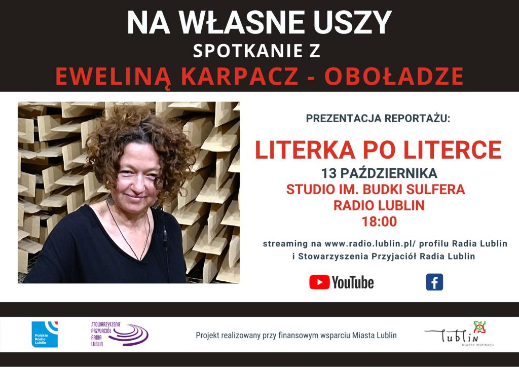 13 października, godz. 18.00, Studio im. Budki Suflera, w cyklu Na własne uszy spotkanie z Eweliną Karpacz-Oboładze