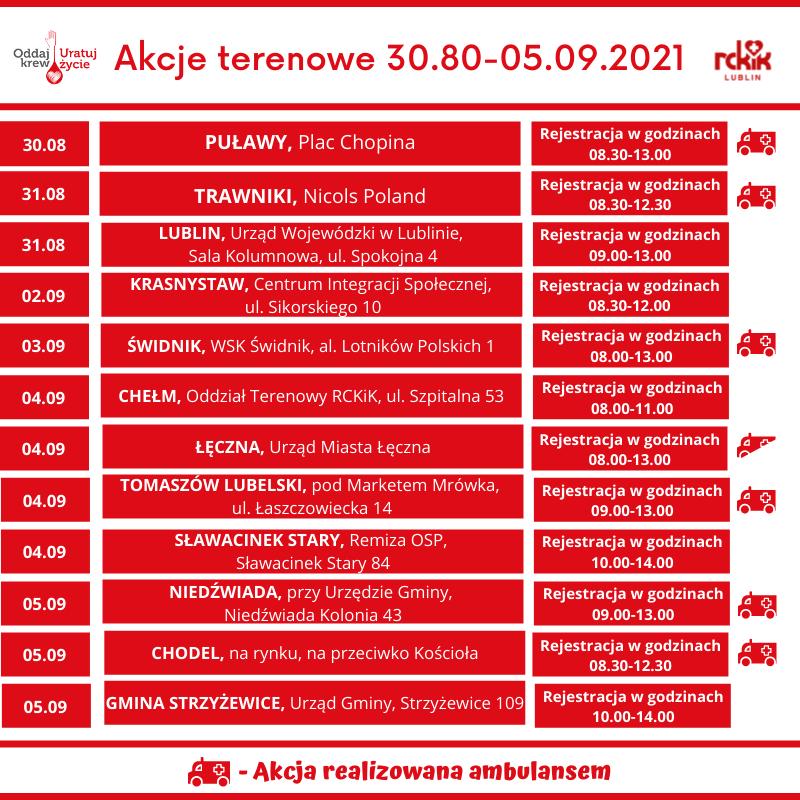 Akcje terenowego poboru krwi od RCKiK w Lublinie 30.08-05.09